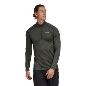 adidas Mens Terrex TraceRocker Half Zip Top Grey Sports Running Breathable