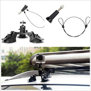 """Vehicle Low Angle Triple Suction Cup Mount + Safety 12"""" Lanyard For GoPro Camera"""