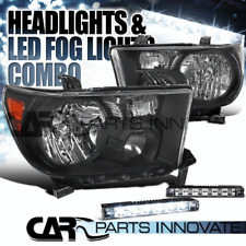 For 07-13 Toyota Tundra 08-14 Sequoia Black Headlights+Slim 6-LED Fog Lights