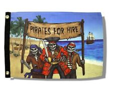 """Pirates For Hire 12"""" x 18"""" Two Sided Flag Boat Motorcycle Cave"""