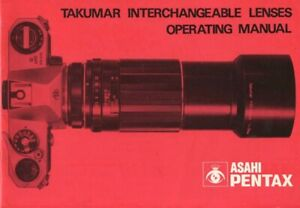 Instruction Manual for Asahi Pentax Takumar Interchangeable Lenses Original