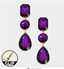 "3"" Dark Purple Gold Long Rhinestone Crystal Dangle Eggplant Earrings Clip On"