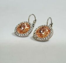 Vtg Dangle Rhinestone Earrings Silver Tone Retro Jewelry Signed LS Lee Sands