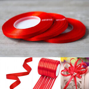 6mm 25yards DIY Satin Ribbon Rool Artificial silk Appliques craft wedding ribbon