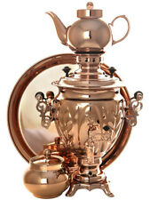 Tea Set Electric Tula Samovar Copper + Teapot +Salver + Sugar bowl