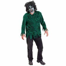 Mens Boys M/L Halloween Horror Zombie Mask with Wig and Green Ripped Top Shirt