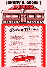 DINER MENU~POSTER MENU DINER CAFE EATERY JUKE BOX ELVIS RETRO VINTAGE ROCK ROLL