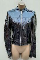 Stunning 10 UK  Karen Millen Black Patent Leather Vintage Biker Jacket Blazer