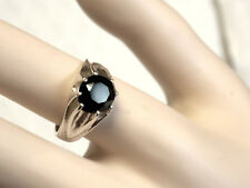 2.50ct 8mm NATURAL black onyx  925 sterling silver ring size 8 USA