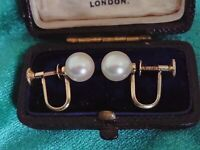 14ct Gold Cultured Akoya Pearls Japanese Earrings Screw Back