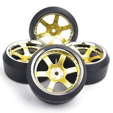 4Pcs 1:10 Drift Tires & 12mm Hex Wheel Rims Fit HSP RC On-Road Racing Car Set