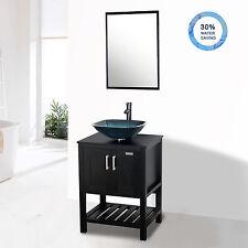 "24"" Black Bathroom Vanity Sink Mirror Faucet Top Cabinet Square Vessel Glass"