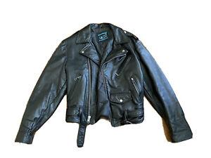 Vintage Cooper Black Leather Motorcycle Zipper Jacket Biker Riding Mens Size 38