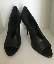 Burberry Black Leather Peep Toe Pumps UK 5 EUR 38 Brand New In Box