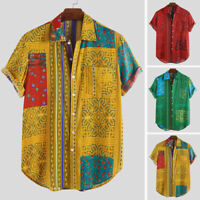 Mens Mexico African Printing Clothing Short Sleeve Party Floral Shirt Top Blouse
