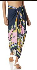 Trina Turk Women's Pareo Wrap Beach Cover Up Navy Bali Harbor Floral, One Size