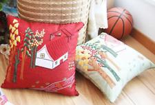 DIY Handmade Embroidery Cushion Cover Kit - Lovely Village Houses