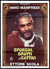 BRUTTI, SPORCHI E CATTIVI MANIFESTO CINEMA MANFREDI 1976 MOVIE POSTER TEASER 2F
