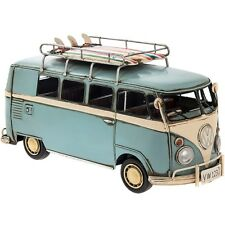 Tin Metal Art Display Model - VW Campervan + Surfboards (Blue) 31cm *NEW* Boxed