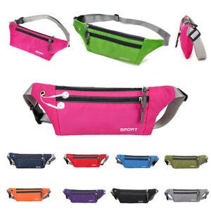 Women Men Sport Waist Bags Pouch Fanny Pack Travel Running Belt Zip Bum Bag UK