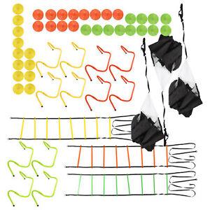 Speed Training Agility Ladder/12 Cones/4 Adjustable Hurdles/Drag Parachute Kit