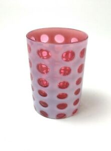 Antique Cranberry Opalescent Coin Spot Tumbler Glass Victorian Old