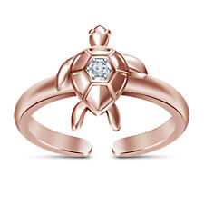 14K Rose Gold Finish Round White Diamond Turtle Adjustable Toe Ring For Women's
