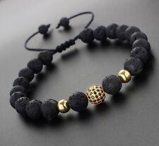 Men's Woman's Lava Rock Gemstone Gold Diamond Ball Beaded Yoga Macrame Bracelets