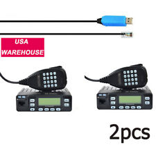 2Pcs Dual Band 144/430 Mhz Mini Amateur Car Vehicle Mobile Radio+Program Cable