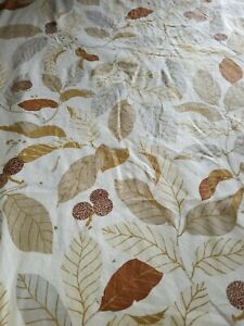 IKEA 1 Drapery Panel 57x90  Stockholm Blad Linen Blend Brown Leaves Curtains