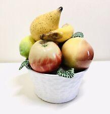 More details for superb hand painted ceramic fruit basket / bowl portugal majolica mid century