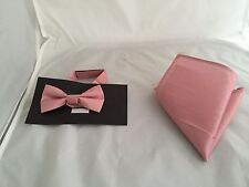 << NEW >> Dusky Pink Polyester BOYS Ready Pre-tied Bow tie and Hankie Set