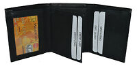 Men's Genuine Leather Trifold Wallet Black New With Gift Box