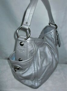 COACH Parker Perforated Leather Op Art Signature Gray Silver Shoulder Bag 13622
