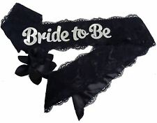 """Black """"Bride To Be"""" Lace & Satin Bachelorette Party Sash With Flower Pin Accesso"""