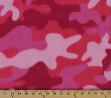 Pink Camo Camouflage Fleece Fabric Print by the Yard A505.11