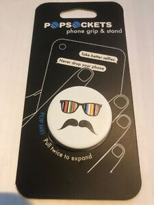 PopSockets Single Phone Grip PopSocket Phone Holder MUSTACHE LIGHT BLUE RAINBOW