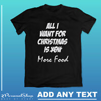 Personalised Christmas Funny T-shirt Printed Custom Text Women Men