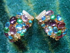 Kenneth Jay Lane Gold Multi Pastel Crystal Cabochon Hoop Clip Earrings
