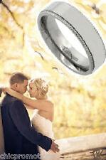 Classic Mens Titanium 6mm Comfort Fit Layered Millgrain Wedding Band Ring Sz 11