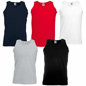 3 FRUIT OF THE LOOM PLAIN COTTON VESTS SLEEVELESS SS18