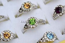 FREE wholesale lots 20pcs colorful crystal rhinestone silver Plated ring #R152