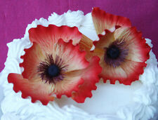 2  Red Orange Gum Paste Sugar Poppies  Cake Decorating Flowers