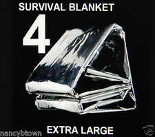 4 XL Winter Emergency BLANKETS Survival Tent Camping Hiking BOB Reflecting Lot