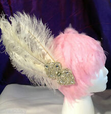 Ivory Beaded Hand Made Fascinator Victorian Vintage Ostrich Feather Rhinestone