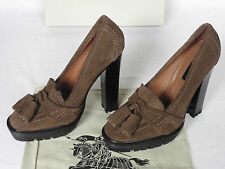 NEW BURBERRY Ladies PRORSUM Brown Suede Tassel Court Shoes HEELS UK 7 EU 40