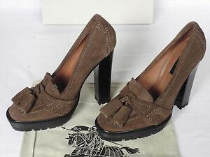 NEW BURBERRY Ladies PRORSUM Brown Suede Tassel Court Shoes HEELS UK 7 EU 40 £475