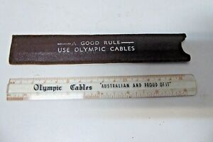 VINTAGE OLYMPIC CABLES AUSTRALIA RULER IN LEATHER CASE SLEEVE