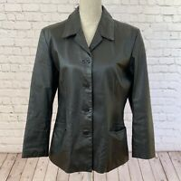 Forenza Women's Black Leather Jacket Size 14 Collared 4 Button Hip Length