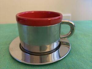 Contigo High Grade Stainless Steel Mini Espresso Cup & Saucer red enamel inside